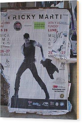 Ricky Martin In Concert Wood Print by Anna Villarreal Garbis