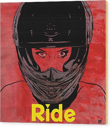 Wood Print featuring the drawing Ride / Text by Giuseppe Cristiano