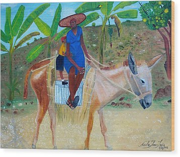 Wood Print featuring the painting Ride To School On Donkey Back by Nicole Jean-Louis