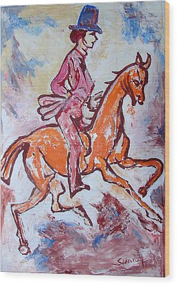 Wood Print featuring the painting Rider And Horse by Anand Swaroop Manchiraju