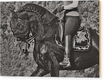 Wood Print featuring the photograph Rider And Steed Dance D6032 by Wes and Dotty Weber