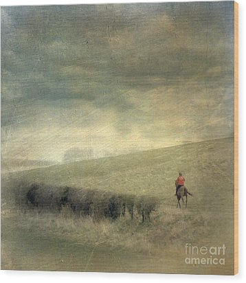 Rider In The Storm Wood Print