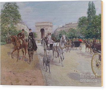 Riders And Carriages On The Avenue Du Bois Wood Print by Georges Stein