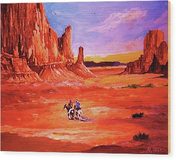 Riders In The Valley Of The Giants Wood Print