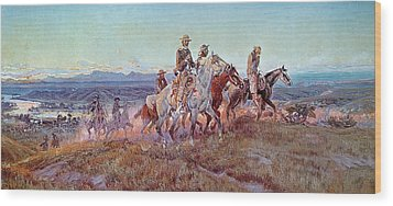 Riders Of The Open Range Wood Print by Charles Marion Russell