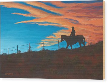 Riding Fence Wood Print by Jerry McElroy