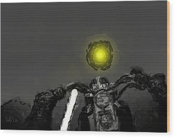 Riding Into The Sunset Wood Print by Wayne Bonney