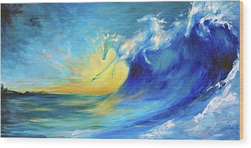 Riding The Waves Wood Print