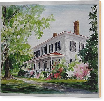 Wood Print featuring the painting Ried-thurman-wannamaker Home by Gloria Turner