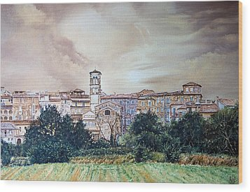 Rieti Panoramic Wood Print by Michel Angelo Rossi