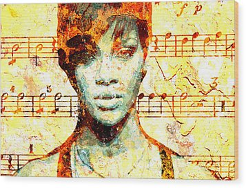 Rihanna Wood Print by Chandler  Douglas