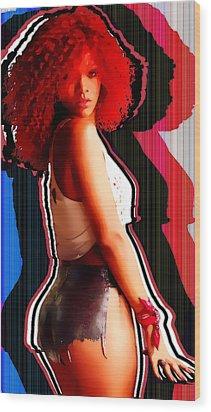 Rihanna Colors By Gbs Wood Print by Anibal Diaz