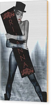 Rihanna Love Card By Gbs Wood Print by Anibal Diaz