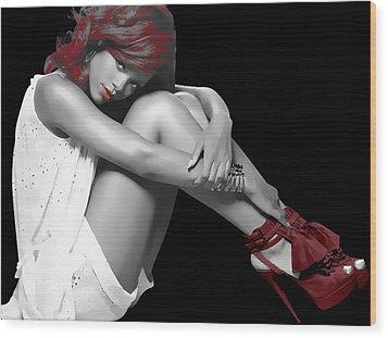 Rihanna Simple By Gbs Wood Print by Anibal Diaz