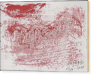 Rila Monastery Red Wood Print by De Fago