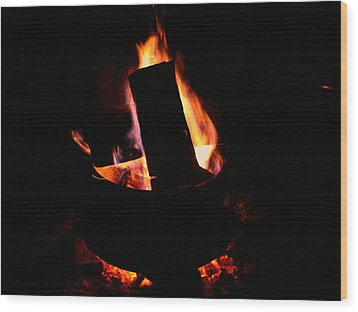Rim Of Fire Wood Print by Martin Morehead