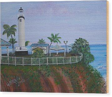 Rincon's Lighthouse Wood Print by Gloria E Barreto-Rodriguez
