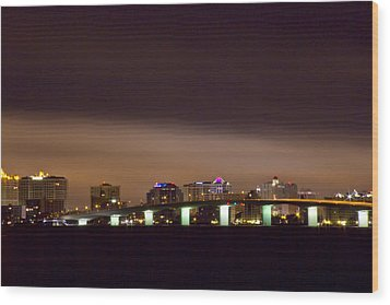 Ringling Bridge And Sarasota Wood Print