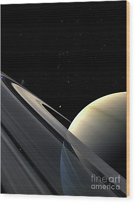 Rings Of Saturn Wood Print by Fahad Sulehria