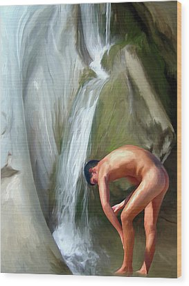 Rinsing Off Wood Print by Snake Jagger