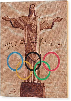 Wood Print featuring the painting Rio 2016 Christ The Redeemer Statue Artwork by Georgeta Blanaru