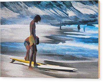 Rio Surfers Wood Print by Dennis Cox