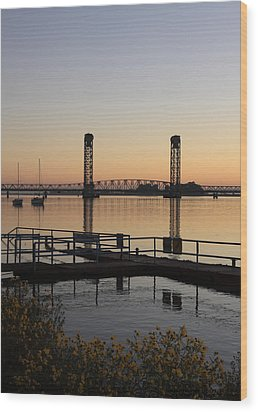 Rio Vista Bridge And Sail Boats Wood Print by Troy Montemayor