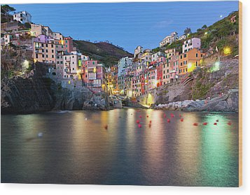 Riomaggiore After Sunset Wood Print by Sebastian Wasek