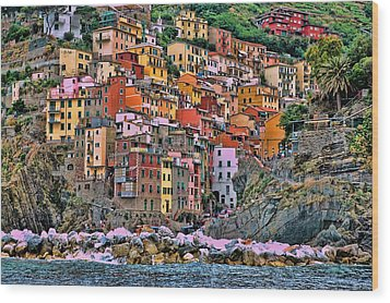 Wood Print featuring the photograph Riomaggiore by Allen Beatty