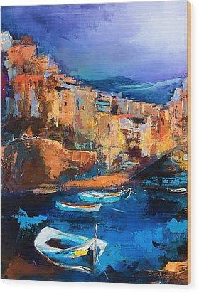 Riomaggiore - Cinque Terre Wood Print by Elise Palmigiani