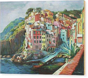 Riomaggiore Italy Wood Print by Conor McGuire