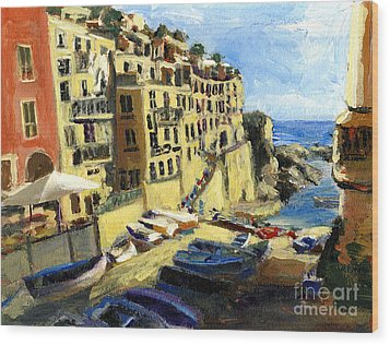 Riomaggiore Italy Late Afternoon Wood Print
