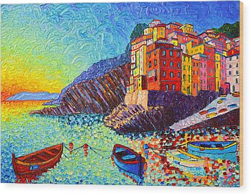 Riomaggiore Sunset - Cinque Terre Italy - Palette Knife Oil Painting By Ana Maria Edulescu Wood Print