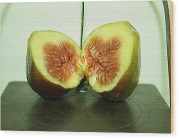 Ripe Fig On Iron Platte. Wood Print
