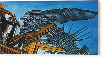 Wood Print featuring the painting Ripley Vs Queen Up Close And Personal by Al  Molina