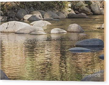 Wood Print featuring the photograph Ripples And Rocks by Linda Lees