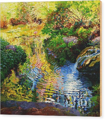 Ripples On A Quiet Pond Wood Print by John Lautermilch