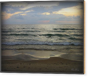 Ripples On The Shore Wood Print by Trina Prenzi