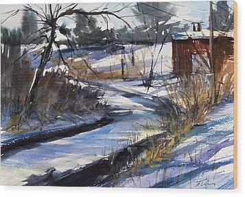 Rippleton Road River Wood Print by Judith Levins