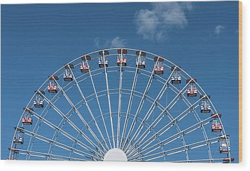 Rise Up Ferris Wheel In The Clouds Seaside Nj Wood Print by Terry DeLuco