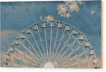 Rise Up Ferris Wheel In The Clouds Wood Print by Terry DeLuco