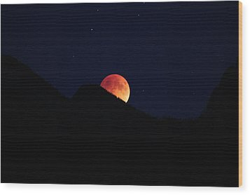 Blood Moon Rising Wood Print by Cathie Douglas