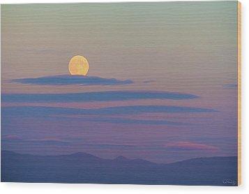 Rising Harvest Moon  Wood Print