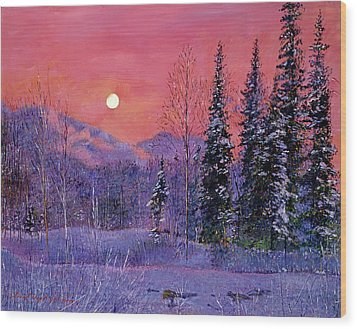 Rising Snow Moon Wood Print by David Lloyd Glover
