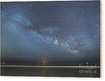 Rising Tide Rising Moon Rising Milky Way Wood Print