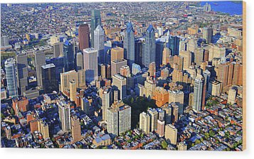 Rittenhouse Square Park And Philadelphia Skyline Wood Print by Duncan Pearson