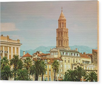 Riva Waterfront, Houses And Cathedral Of Saint Domnius, Dujam, D Wood Print by Elenarts - Elena Duvernay photo