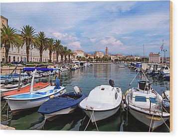 Riva Waterfront, Houses And Cathedral Of Saint Domnius, Dujam, Duje, Bell Tower Old Town, Split, Croatia Wood Print by Elenarts - Elena Duvernay photo
