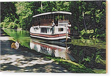 Wood Print featuring the digital art River Boat With Welsh Corgi by Kathy Kelly