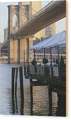 River Cafe With Brooklyn Bridge Wood Print by Christopher Kirby